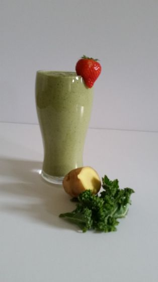 Kale, mango, banana, ginger, high protein recovery shake.  Immune boosting and delicious makes a great portable breakfast or snack