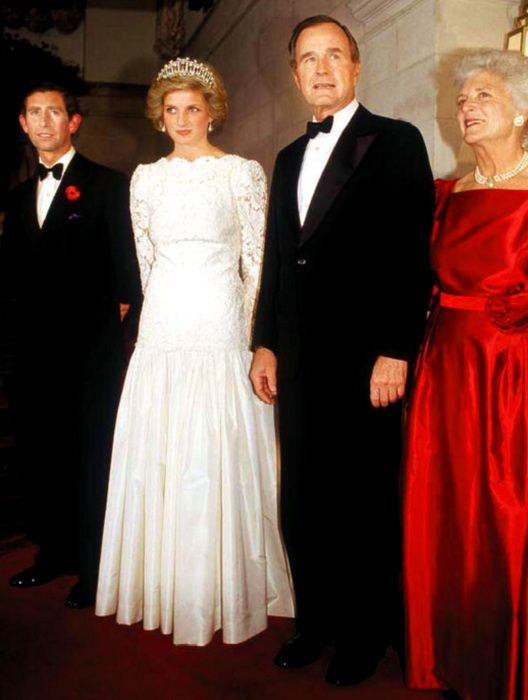 Prince Charles and Lady Diana with President George Bush and First Lady Barbara Bush at the White House Reception for visiting English Royalty