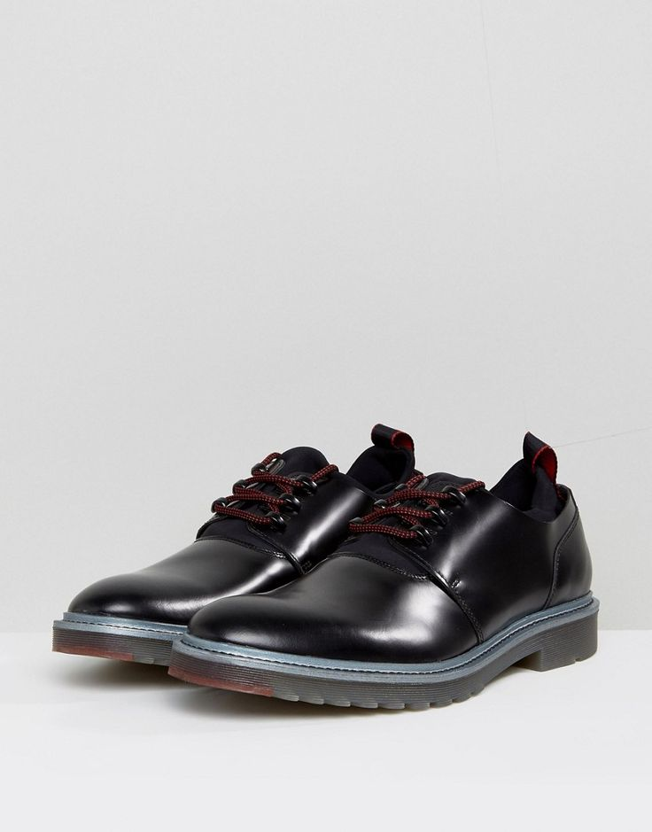 HUGO by Hugo Boss Pure Heavy Rubber and Leather Lace Up Shoes in Black