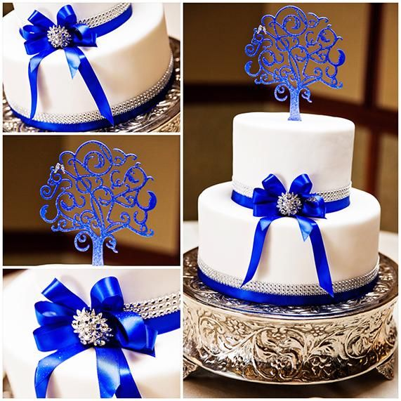 Something blue love birds wedding cake tied with a bow at Disneyland