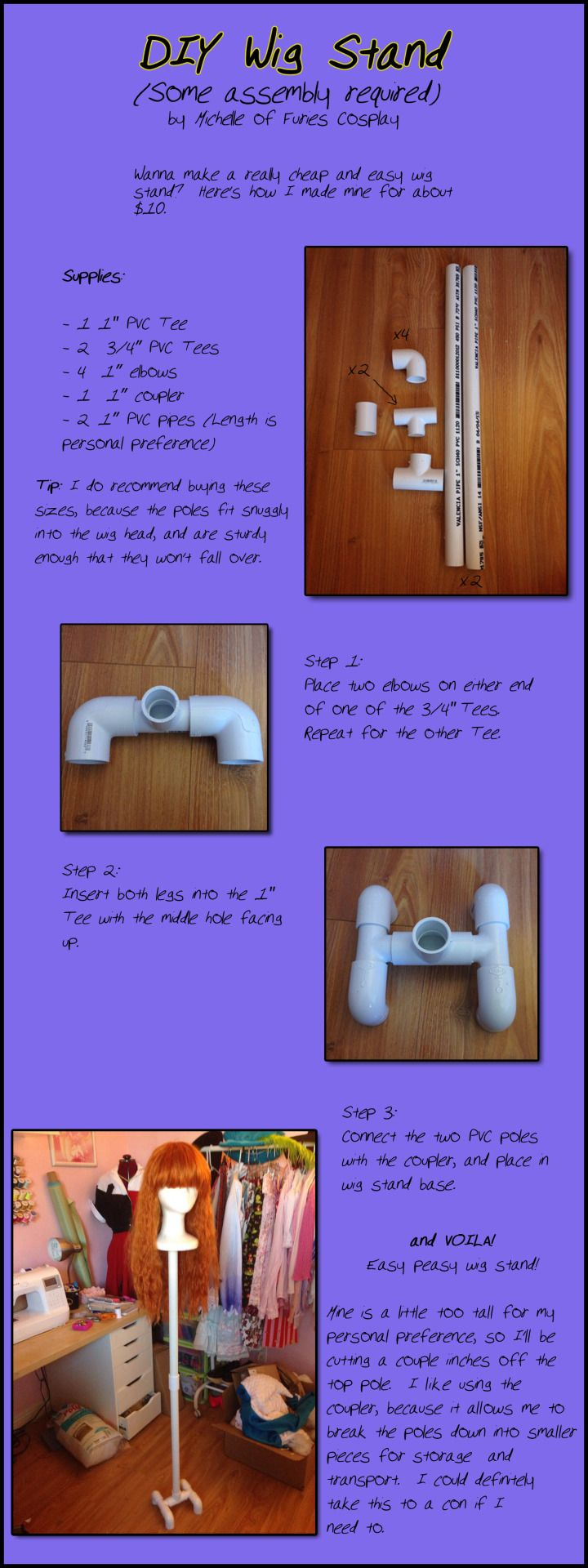 I made a thing! Went to Home Depot yesterday and got a bunch of PVC to make a wig stand. I'm pretty happy with it, so I did up this tutorial so you all can make one too.-Michelle