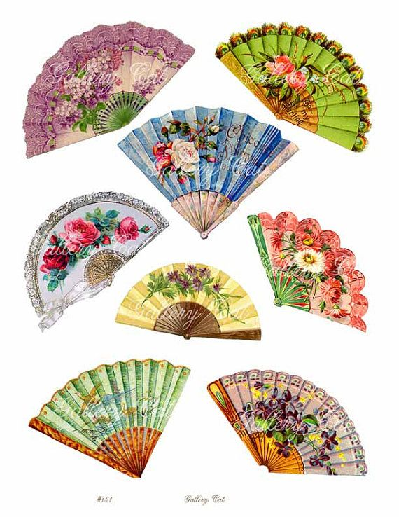 VICTORIAN FAN Instant Digital Download for Paper Crafts Art Projects Greeting Cards Dolls Original Whimsical Altered Art by GalleryCat CS151