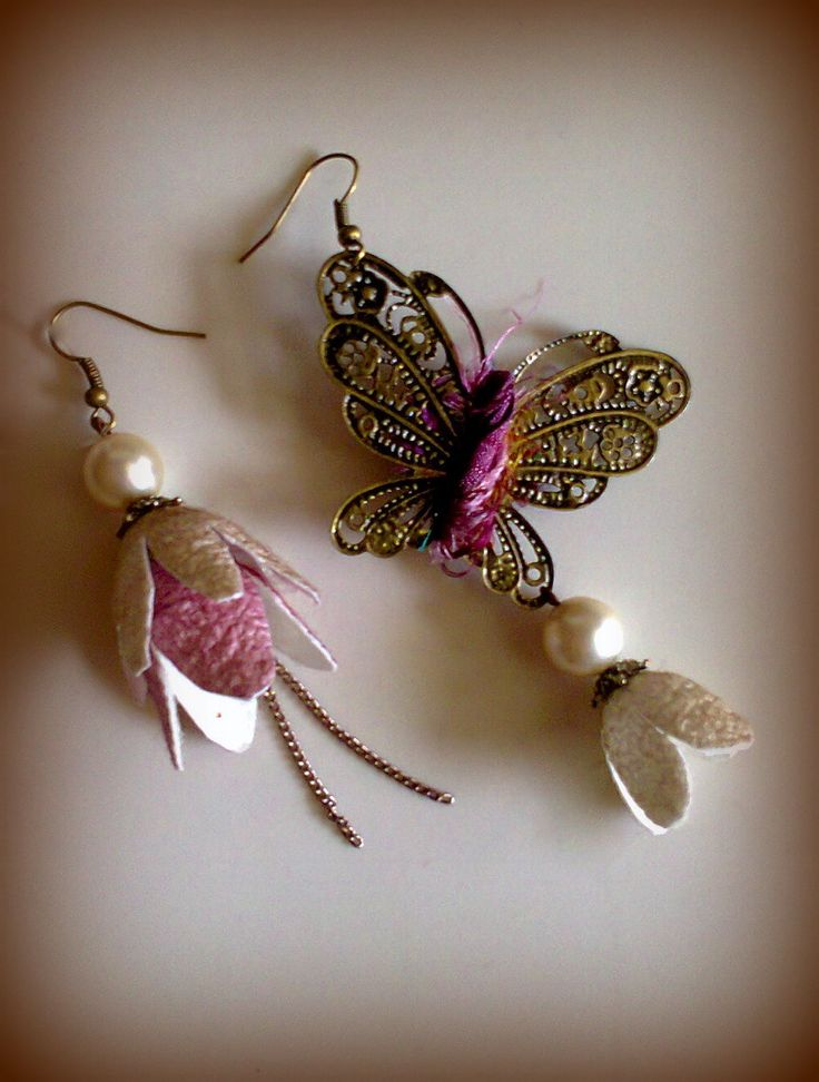 cocoon flowers and pearls earrings/KINZ jewelry