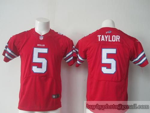 Youth Buffalo Bills #5 Taylor NFL Jerseys Red