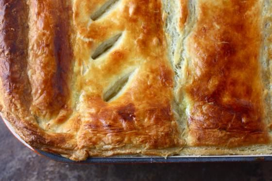 Chicken Pot Pie with Puff Pastry Crust (To make it freezer friendly, assemble with pastry crust on top and then freeze it unbaked. When you're ready to eat it, bake at 400 for about an hour) | Eat Live Run