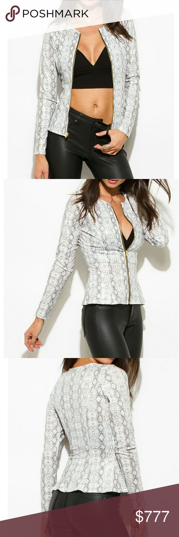 💋LAST 1💋PYTHON PRINT JACKET Brand new no tags Boutique item Price is firm  This instantly stylish python print jacket is trendy Timeless and sophisticated. It features a fitted and structured bodice. Exposed zipper on front makes it fun to wear, zip up all the way for work and ZIP down halfway for happy hour. Wear it with skinny jeans or a pencil skirt.   Material is semi stretchy 96% polyester 4% spandex light weight made in the USA  Modeling is wearing a size small   Jacket animal print…
