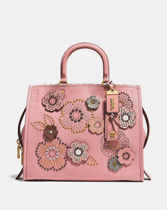 f2abf44dc8 Coach Rogue With Snakeskin Tea Rose Rivets