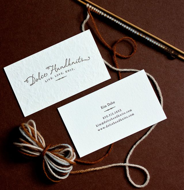 Like the logo, the pressed cards (embossed) and the clean & simple info on the back. cc @Aimee Giese: Beautiful Business, Texture Cards, Handknit Letterpresses, Biz Cards, Cards Embossing, Press Cards, Letterpresses Business Cards, Dolce Handknit, Letterpress Business Cards