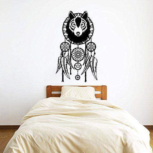 Wall Decals Dream Catcher Dreamcatcher Wolf Feathers Symbol Vinyl Sticker Wall Decor Murals Wall