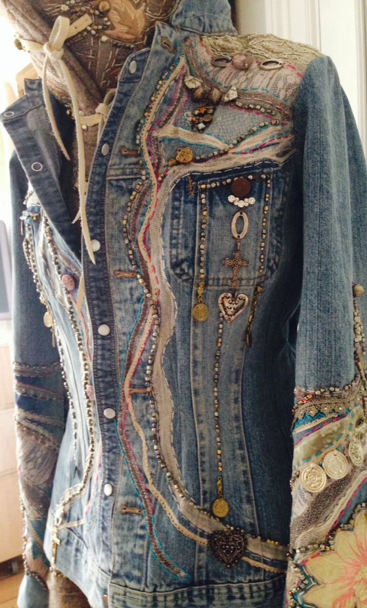 Beautiful embellished denim in Victorian tones. would be easy to add steampunky touches, especially in the hardware selection. -kv