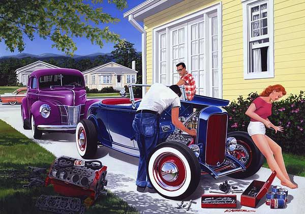 Automotive Art by Bruce Kaiser, Hot Rod Art Home Page 1950's theme paintings