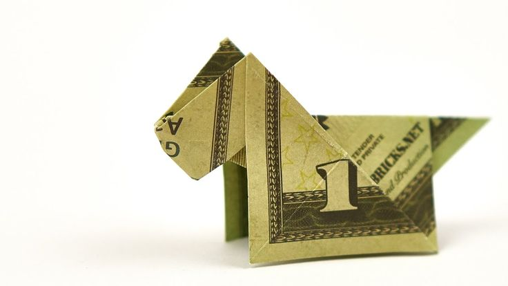 Dollar Bill Origami DOG, EASY instructions on how to fold a dog out of M...