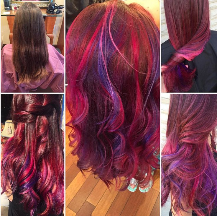 Hair color. Red and purple
