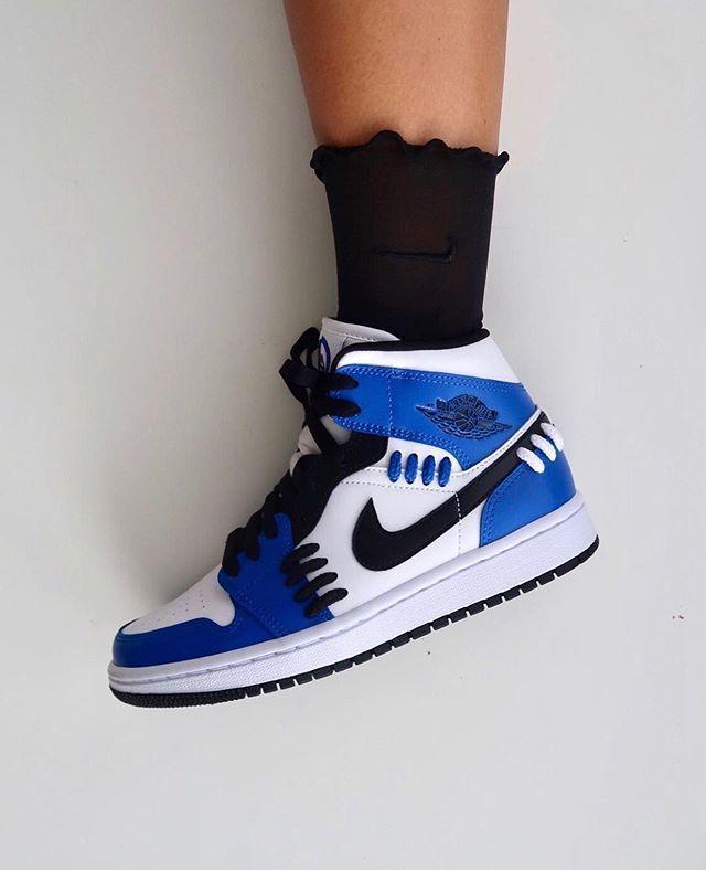 Air Jordan 1 Mid Sisterhood Game Royal Blue Women Shoes Sneakers ...