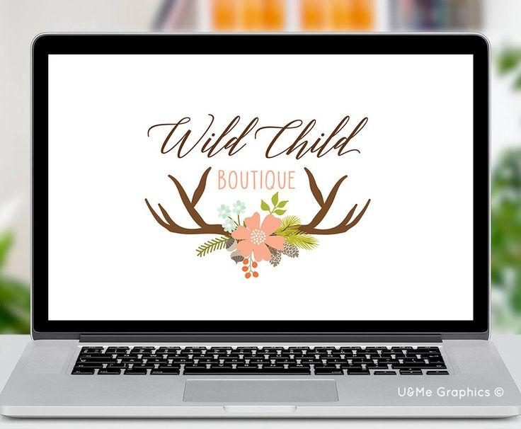 Wild premade logo, premade logo, floral premade logo, floral horns premade logo, deer horns premade logo, premade logos, u&me graphics premade logos