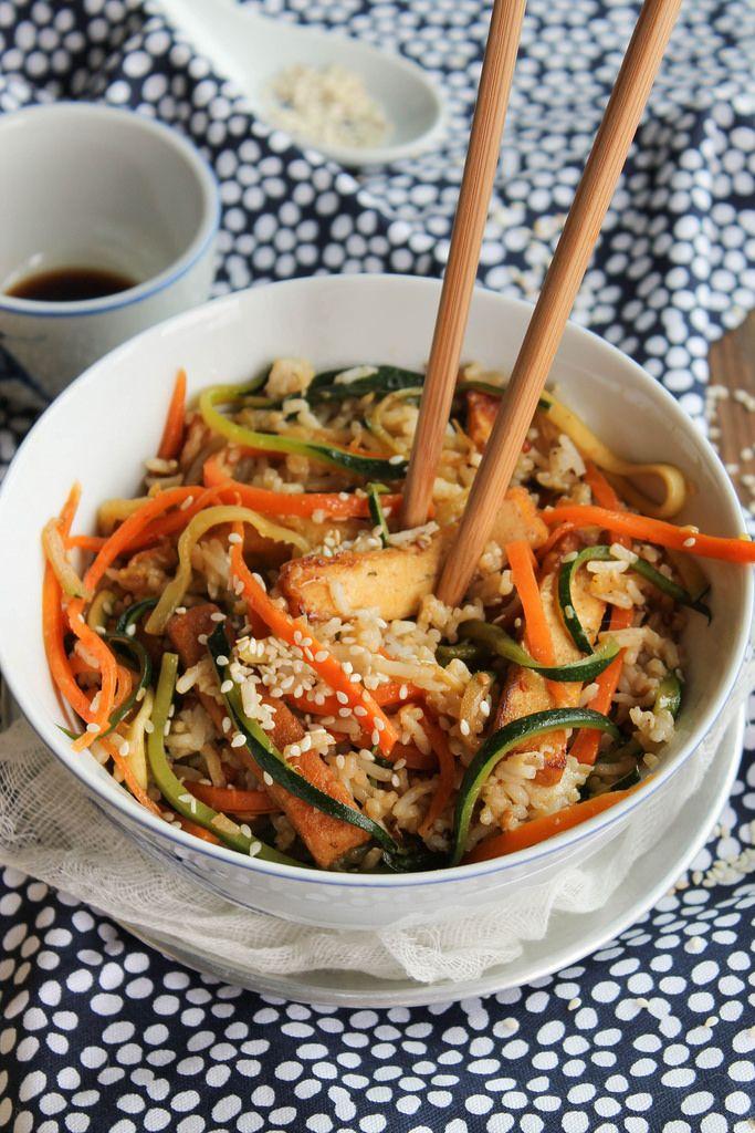 Riz frit aux légumes et au tofu {vegan- sans gluten} - aime & mange