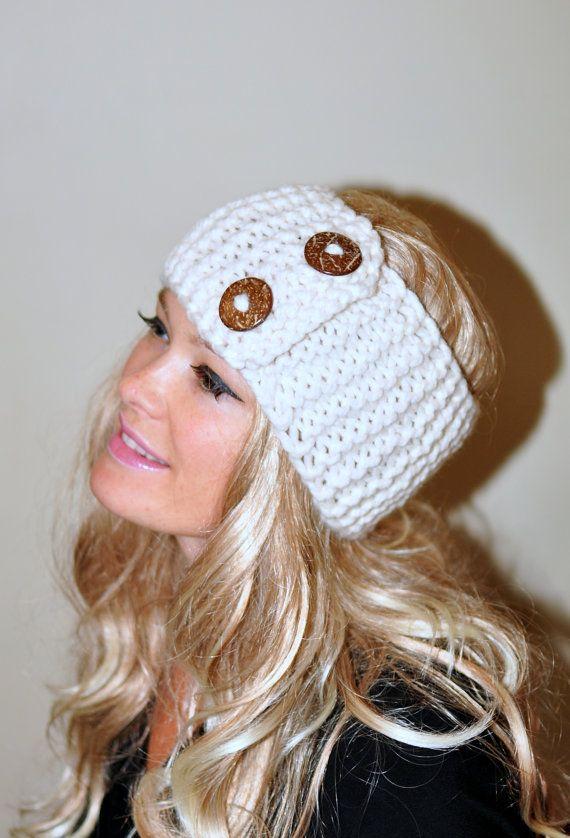 Earwarmer Buttons Winter WOOL Crochet Headband Chunky Ear warmer  Cloud Vanilla Ivory Warm Hair Band Button Gift under 50