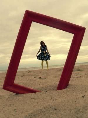 Stick a cheap, empty picture frame in the sand and shoot your photo through it love this idea ~ how simple is that! ~