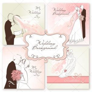 Wedding card vectors with wedding couple - beautiful collection of wedding invitations in soft pink colors, wedding card design templates. Available here: bit.ly/1wMb8lT