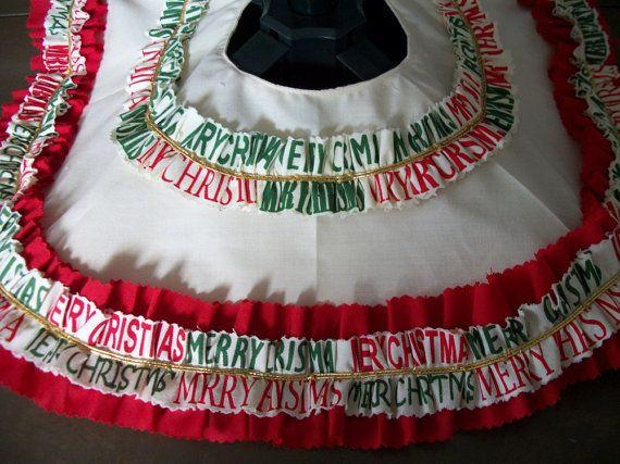 Christmas Tree Skirt Merry Christmas Festive Skirt by sharronmay