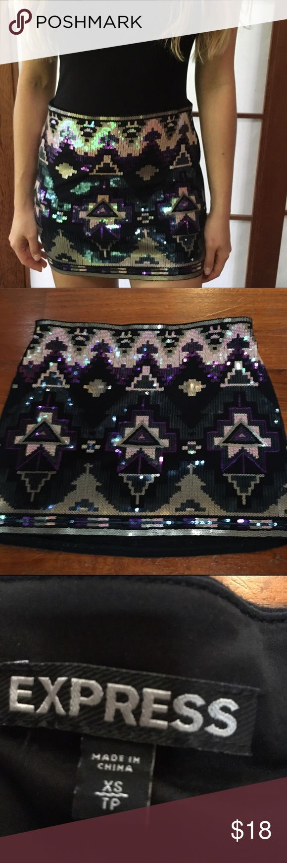 Express Aztec sequin skirt Fun mini skirt! Size XS, by express. Feel free to make an offer! Express Skirts Mini
