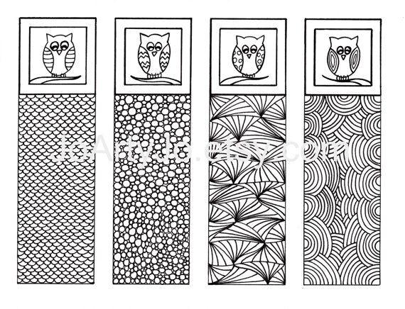 Owl Bookmarks DIY Zentangle Inspired Art Valentine's by JoArtyJo, $4.00