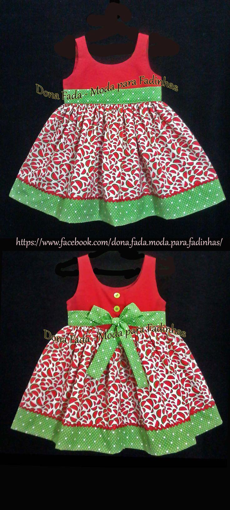 Vestido Melancias - 1 ano_______________baby - infant - toddler - kids - clothes for girls - - - https://www.facebook.com/dona.fada.moda.para.fadinhas/
