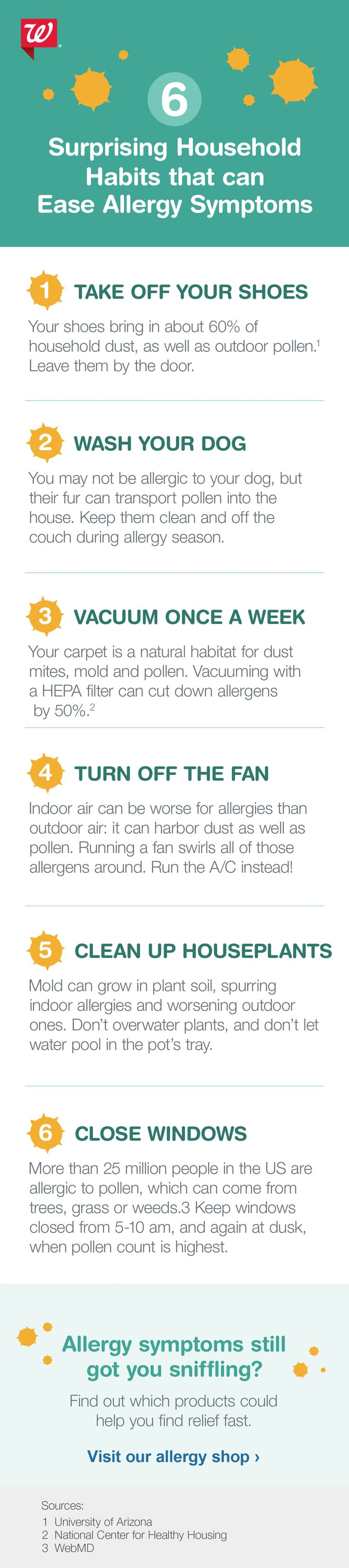 Find out how you can make small changes indoors to help ease outdoor allergy symptoms.