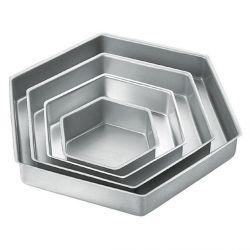 Piece Hexagon Cake Pan Set silver, cook  prep, bakeware