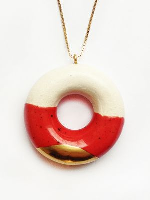 "TADAM! - Concept jewellery kitchen Handmade ceramic pendants TADAM! ""The Sweet Course for Your Eyes"" #jewelry #pendant #doughnut #dessert #chocolate #accessory #fashion #handmade  Find it at http://www.mokosh.dk/our-talents/tadam/"