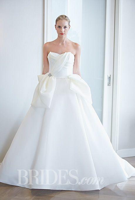 "Brides.com: Edgardo Bonilla - Fall 2014. Style 315, ""Sweet Rose"" strapless silk gazar ball gown wedding dress with sweetheart neckline and draped bodice, Edgardo Bonilla"
