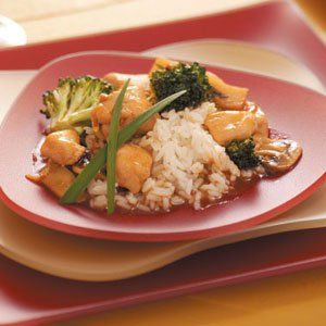 """Chicken Broccoli Stir-Fry Recipe -""""This easily prepared recipe offers scrumptious but mild Asian flavor in a nicely balanced protein dish the whole family will love."""" Clara Coulston - Washington Court House, Ohio"""
