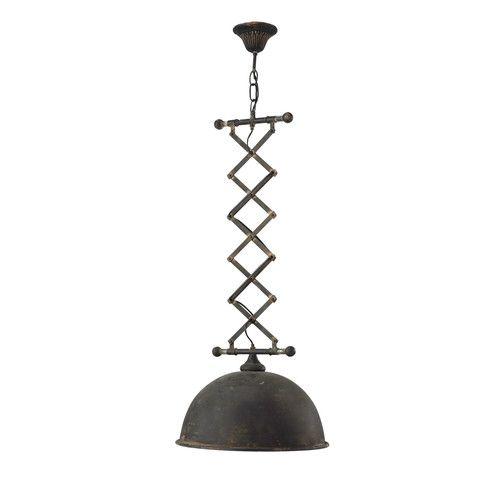 Lampada sospesa estensibile in metallo nero L 42 cm FARMINGTON