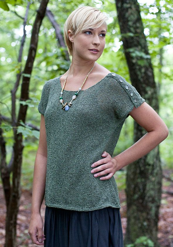 "A button flap at the shoulder adds interest to this simple stockinette top worked in drapey Seduce.   Shown in size Small SIZES Directions are for women's size X-Small.  Changes for sizes Small, Medium, Large, 1X and 2X are in parentheses FINISHED MEASUREMENTS Bust - 33(37-41-45-49-53)"" Length – 23½(23½ -24½ -25 - 26 -26½)"""