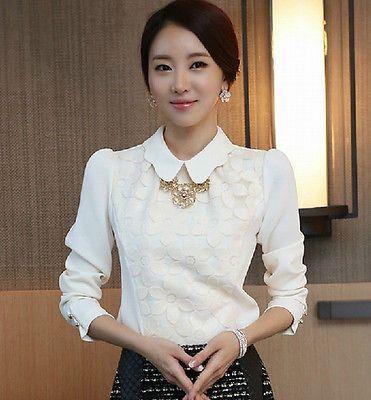 Coreano Mujeres Niña Manga Larga Suelta Prendas para el torso Blusa Camisa Blanca De Chifón Bordado