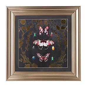 Gold Alchemy Butterfly & Bugs Framed Print #Kaleidoscope #Butterfly #Exotic #Gilded #Luxury #Gold #picture #art