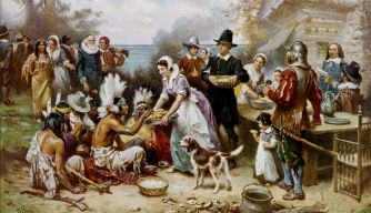 """The First Thanksgiving"" (1915), by Jean Louis Gerome Ferris (American painter, 1863-1930) 