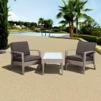 Atlantic Contemporary Lifestyle Florida Deluxe 3-Piece All-Weather Wicker Patio Conversation Set with Gray Cushion