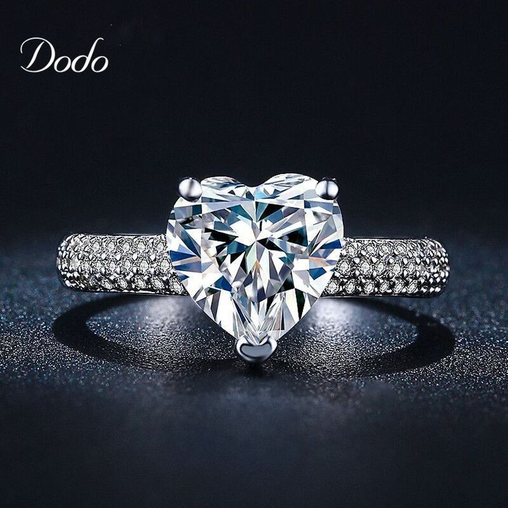 Heart shape white gold plated jewelry Ring