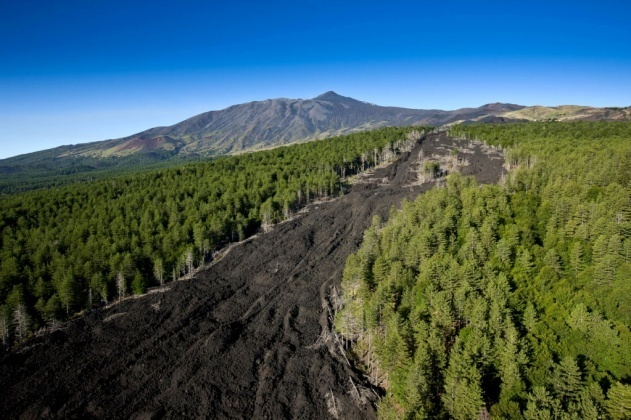 Old lava flow on the northern side of Mount Etna volcano, Sicily, Italy