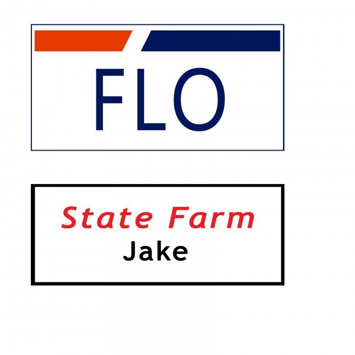 Name-Tag-Printable Flo from Progressive and Jake from State Farm