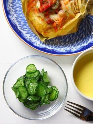 「きゅうりのマリネ ディル風味」さっぱり、しゃきしゃき♪ディルが入っているので、スモークサーモンに合わせたり、卵サンドに挟んだりしても美味しい!【楽天レシピ】