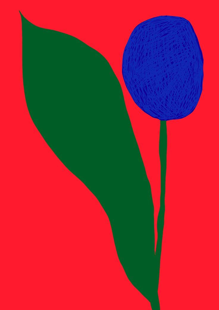 Antti Kalevi, Blue Flower on Red Background, 2015
