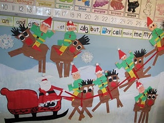 Santa, Elves, and Reindeer Bulletin Board  Free downloadable patterns on the HeidiSongs Resource blog!  http://heidisongs.blogspot.com/2010/11/get-ready-for-holidays-week-14.html