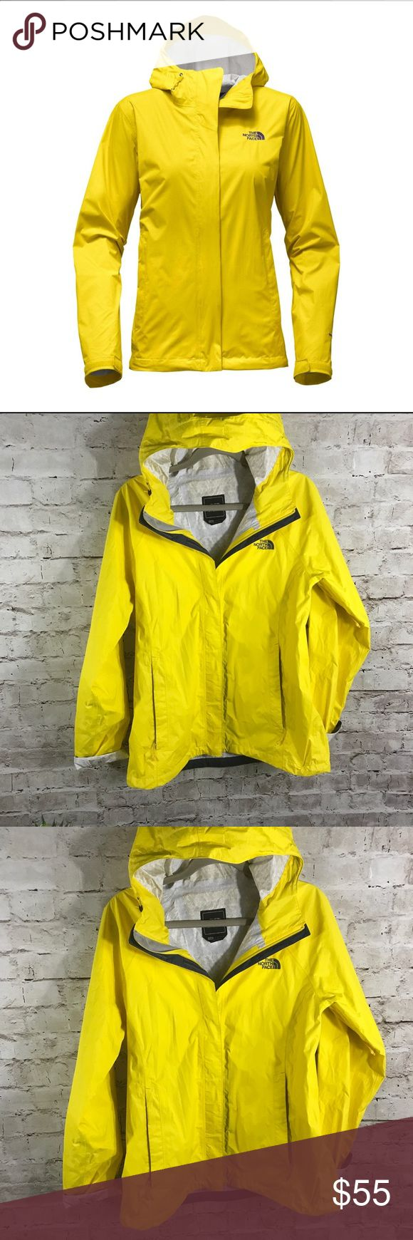 The North Face yellow rain jacket Relaxed fit offers lasting comfort DryVent™ technology provides maximum protection and performance 100% windproof fabric shields you from harm winds Fixed hood is adjustable Cinch cord at the hem traps warmth inside VELCRO® brand cuff tabs are adjustable Stormflap with VELCRO® brand closure covers center zip Pit zip venting enhances breathability Jacket is stowable in hand pocket for easy travel Two zip hand-warming pockets Like new condition. Size L The…