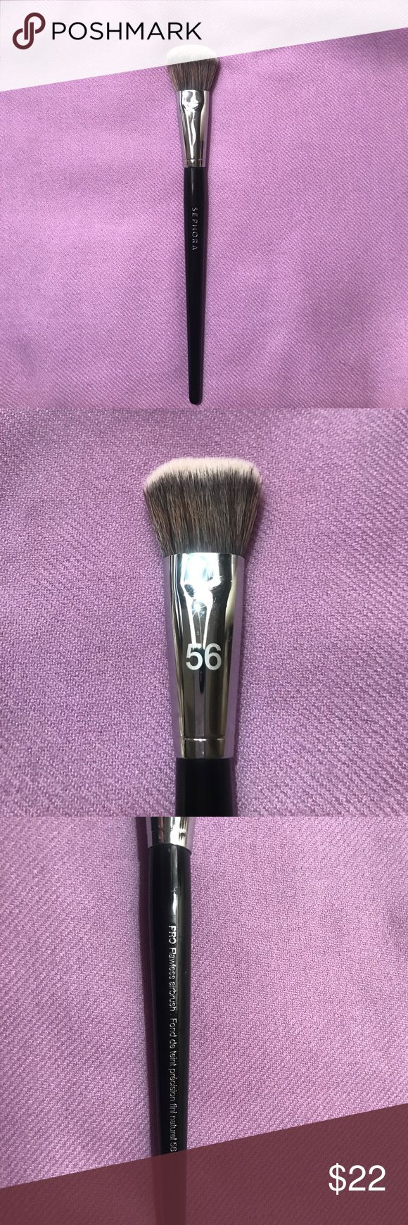 Sephora Air Brush #56 What it is: This expert brush applies all types of foundation and provides a natural, airbrushed finish. What it does: Buff on your favorite foundation or powder with this brush designed to provide greater precision and maximum control. The brush head is densely packed with short, synthetic bristles, ideal for building coverage in layers until you've reached your desired finish.  Only used once. Completely cleaned and sanitized. Sephora Makeup Brushes & Tools