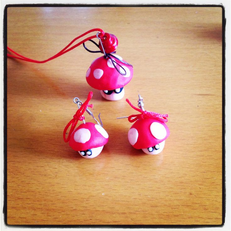 Mushrooms earrings and necklace #fimo