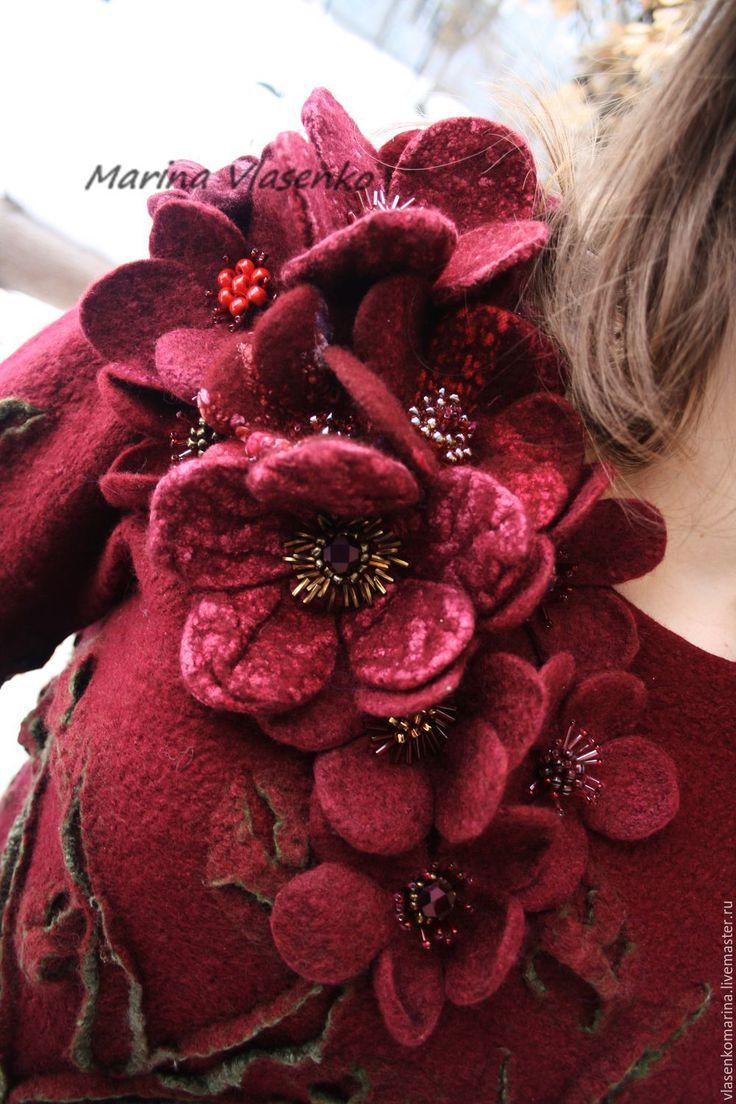 Купить Свитер валяный Багряные цветы - бордовый, цветочный, свитер, свитер женский, свитер валя