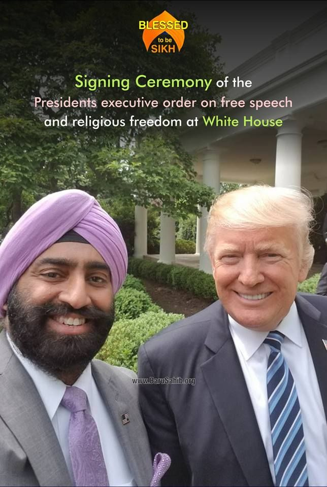 "#BlessedtobeSikh  Signing Ceremony of the Presidents Executive Order on free speech and religious freedom at White House  President Trump signed an executive order ""promoting free speech and religious liberty"". The final version of the order addresses two issues. First, it instructs the Internal Revenue Service to ""not take any adverse action against any individual, house of worship, or other religious organization"" that endorse or oppose candidates from the pulpit, which is currently…"