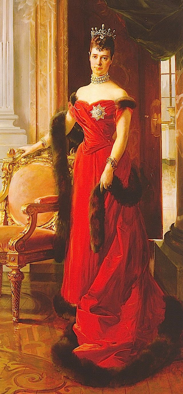 Maria Feodorovna (Princess Dagmar) (1847–1928) Denmark wearing a fur-trimmed red dress by François Flameng (Hermitage) in 1894. Wife of Alexander III (Alexander Alexandrovich Romanov)  (1845-1894) Russia.  4th Child of King Christian IX 1818-1906) Denmark &  Princess Louise (1817-1898) Hesse, Germany. Christian was not in the immediate line of succession to the Denmark throne. But, Christian became heir to the throne in the unexpected extinction of the senior line of the House of Oldenburg.